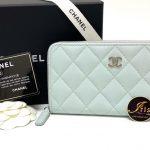 """กระเป๋าเงิน Chanel medium 6"""" zippy wallet light blue caviar SHW ของใหม่ พร้อมส่ง‼️"""